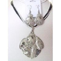NS908  Multistrand Black & White String With Silver Ethnic Pendant Earrings Set