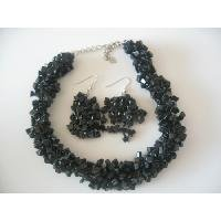 NS913  Semi Precious Onyx Nuggets Beads Trendy Funky Jewelry Necklace Set