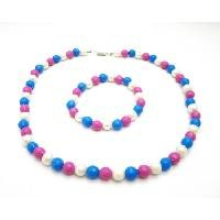 GC201  Flower Girls Return Gift Blue Pink White Beads Necklace Bracelet