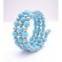 TB961  Classic Chic Stranded Bangle Bracelet Turquoise & Bali Silver Spacer Bracelet