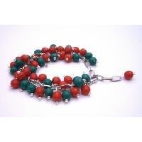 TB995  Christmas Gift Red & Green Cluster Bracelet Gorgeous Handmade Creation