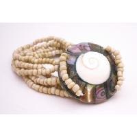 TB062  Beige Color Bracelet Shiva Eye Shell Bracelet w/ Beads Beads 7 Stranded Bracelet