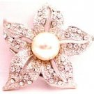 B520  Brilliant Prong Set Clear Round Rhinestone Embedded Each Five Petals Brooch