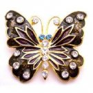 B516  Decorative Stylish Butterfly Holiday Gift Box Brown Enamel Sparkling Diamond Studs Brooch