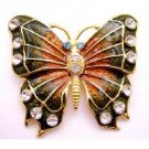 B517  Bright Glimmering Two Shaded Butterfly Brooch Sparkling Diamond Studs Brooch