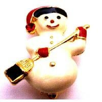 B497  Cute Snowman Brooch For Christmas Smiling Snowman Winter Brooch