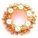 B513  The Intricate Gold Plated Brooch Glittering Cubic Zircon & Pearls
