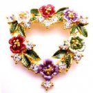 B514  Heart Shaped Brooch With Color Enamel Flower Valentine Cake Bouquet Brooch