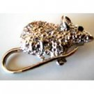 B484  Rat Brooch Embedded w/ Rhinestones Encrusted Artistically Cubic Zircon