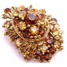 B523  Wedding Christmas Cake Brooch Bridemaids Smoked Topaz Golden Shadow Crystals
