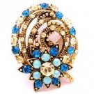 B521  Indicolite Gold Brooch Wedding Brooch Fashion Bridesmaid Brooch At A Great Price