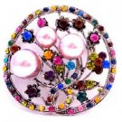 B527  Pink Pearls Round Brooch Multi Crystals Encrusted All Over Beautiful Holiday Christmas Gift