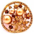 B530  Fun Wear & Gifts Unique Christmas Gifts Bronze Pearls Round Brooch Gift