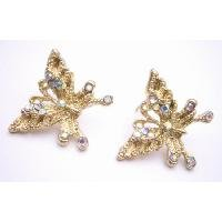 UER451  Lovely Detailed Pair Of Golden Butterfly Earrings Surgical Post