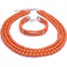 BRD101  Traditional Anniversary Gifts Coral Angel Skin Pearls Jewelry