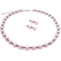 BRD132  Spectacular Attractive Jewelry Platinum Champagne w/ Brown Pearls Set