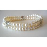 TB072  Double Stranded Stretchable Freshwater Pearls Wedding Rondell Bracelet