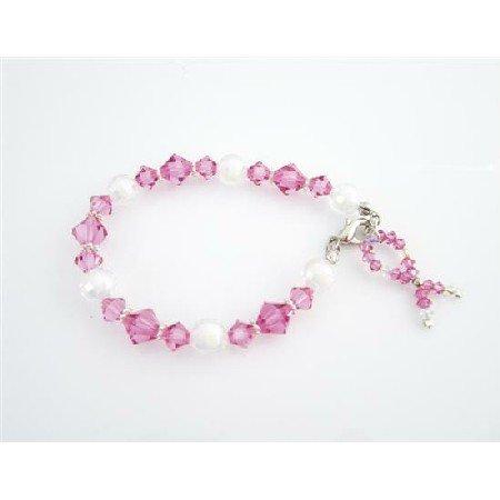 TB975  Breast Cancer Awareness Bracelet Swarovski Crystals Silver Beads