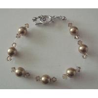 TB070  Bronze Pearls Bracelet Swarovski w/ Lite Colorado Crystals Bracelet