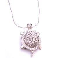 N918  Cute Silver Turtle Pendant Brooch Sparkling Like Real Diamond Gift To Your Love One