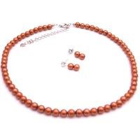 NS958  Fall Wedding Wedding Flower Girl Unique Pearls Brick Color Jewelry