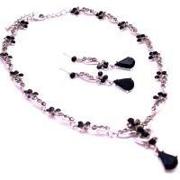 NS961  Bridemaids Bridal Jewelry Necklace Set Wedding Jewelry Jet Crystals