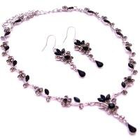 NS964  Wide Spectrum Of Black & Black Diamond Crystals Bridal Jewelry