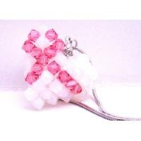 N922  Pink Ribbon Puffy Heart Pendant Necklace