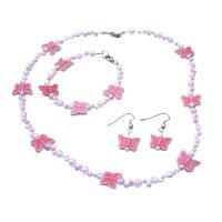 GC240  Fancy Girls Jewelry Pink Butterfly With Tiny White Pink Beads Necklace Earrings & Bracelet