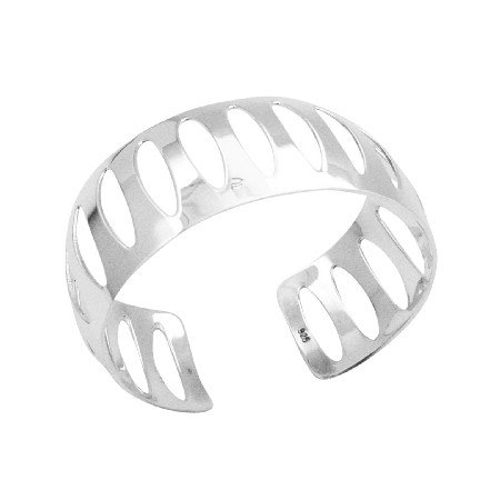 BR118  Glamorous Elaborate Sterling Silver Solid Cuff Bracelet Pattern Style