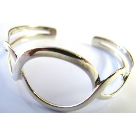 BR103 Twisted Round Rings Cuff Bracelet Authentic Sterling Silver 92.5 Guaranteed