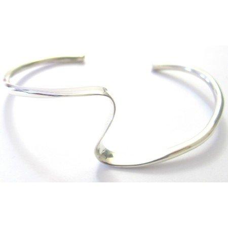 BR105  Single Layer Sharp Curves Wavy Design Bracelet Sterling Silver Cuff Wavy Bracelet