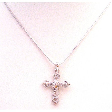 UNE291  Diamante Cross Pendant Sparkling Affordable Inexpensive Christmas Gift