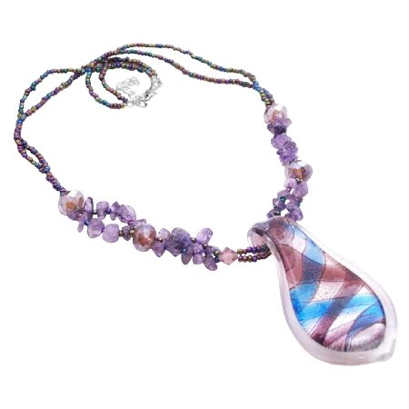 N916  The Finest Murano Glass Pendant Necklace The Most Affordable Jewelry