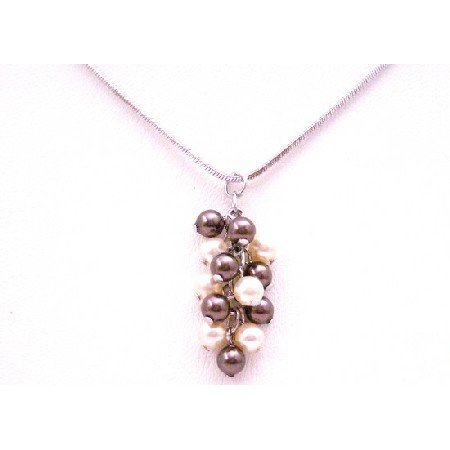 N910  Make it A Birthday To Remember Grape Bunch Brown Ivory Pearls Necklace