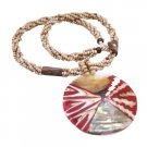 N901  Shell Necklace Shell Jewelry Beige Beaded Necklace W/ Shell Coral Pendant