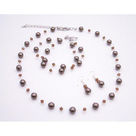 BRD080 Wedding Jewelry w/ Swarovski Smoked Topaz With Chocolate Brown Pearls Jewelry Set