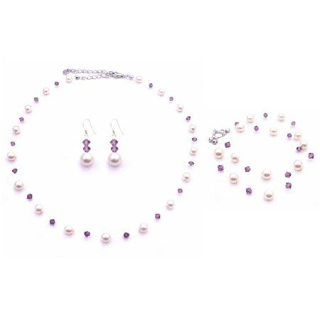 BRD868 Amethyst Swarovski Crystals w/Ivory Pearls Necklace Set & Double Stranded Bracelet Jewelry