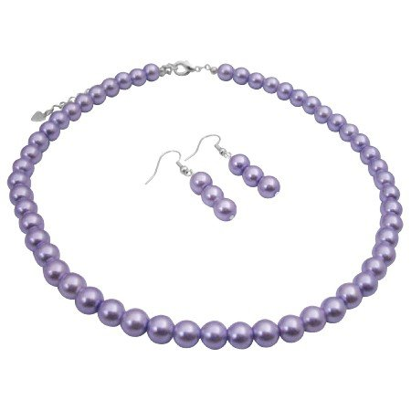 UNS051  Affordable Bridal Bridemaids jewelry Set Victorian Lilac Wedding Pearls Necklace Jewelry Set