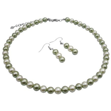 UNS055  Wedding Set Under $5 Necklace Set Honeydew and Green Pearls Jewelry Set