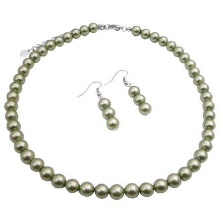 UNS006  Cool Summer Color Green Necklace Set 16 Inches Synthetic Pearls Jewelry w/ Earrings
