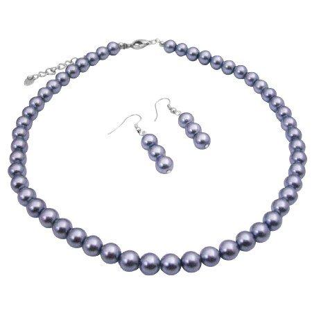 U219  Beautiful Grey Pearls Neclace Set