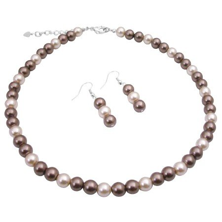 UNS032  Bridal Party Jewelry Wedding Necklace Set Bronze Pearls & Cream Pearls
