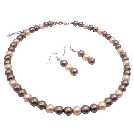U132 Bridal Wedding Pearls Jewelry Brown Pearls & Peach Pearls New Combo Jewelry Pearls Set