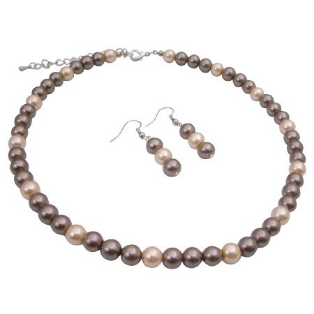 U145  Wedding Pearls Jewelry Set Brown Pearls & Peach Pearls New Combo Jewelry Pearls Set