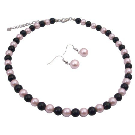 U197  Pink Black Pearls Jewelry Set Smashing Combo Of Pink & Black Beads Set