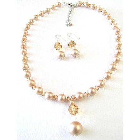 BRD130  Custom Swarovski Champage Pearls Colorado Crystals Cute Drop Down Set