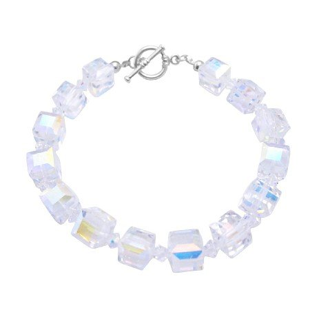 TB049  AB Cube Bracelet Upcoming Genuine Swarovski AB 8mm Crystals Bracelet