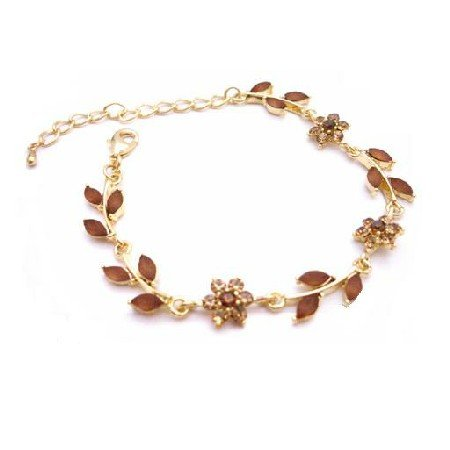 TB041  Gold Plated Bracelet w/ Enamel Smoked Topaz Crystals Brown Bracelet