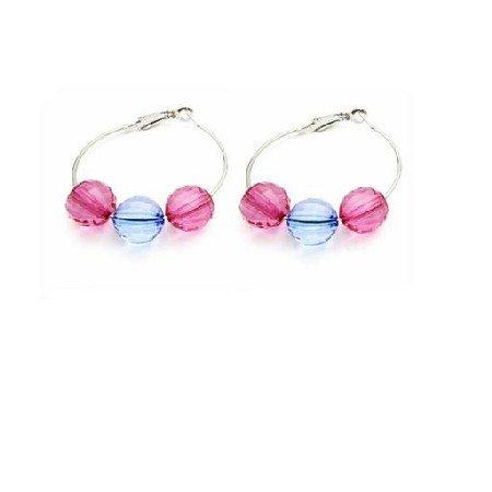 UER431  Gift Friend Jewelry Inexpensive Jewelry Glass Bead Hoop Earrings